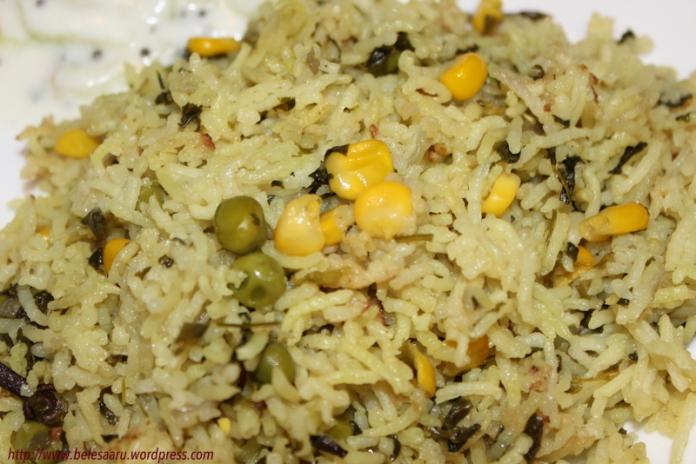 Methi Mutter sweet corn pulao